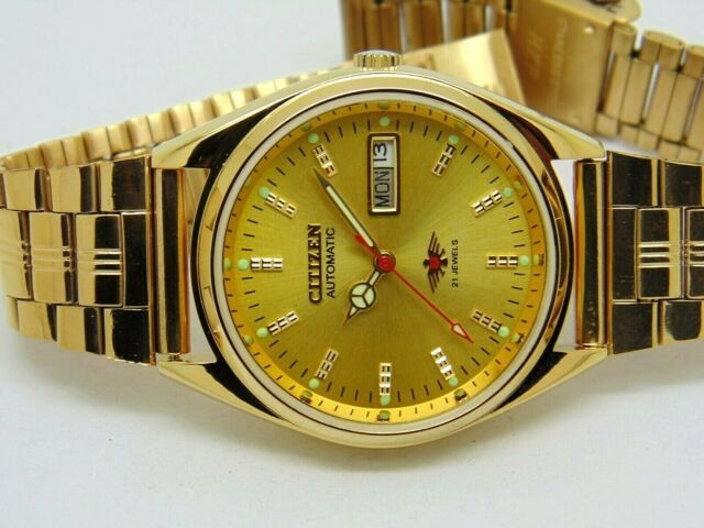 citizen automatic men's gold plated day date vintage japan made watch run order