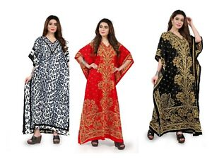 e10a44e5b3c Free Size Kaftan Tunic Holiday Dress Beach Cover up fits 14,16,18,20 ...