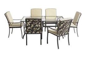 Lucca 6 Seater Rectangular Metal Glass Garden Furniture Set Ebay