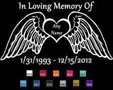 In Memory Of Angel Wings Custom Memorial Decal several colors - BUY 2 GET 1 FREE