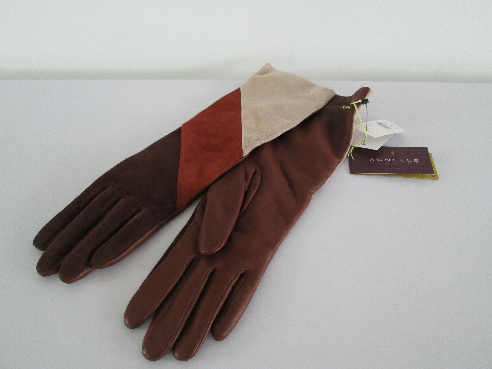 Agnelle para mujer Guantes TNM TAMAÑO 6.5 marrón a rayas de cordero piel de cabra de Cachemira Forrado