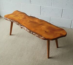 Image Is Loading VINTAGE RETRO TREE TRUNK SLICE COFFEE TABLE WITH