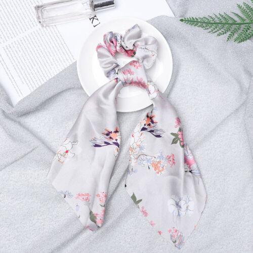 Floral Print Scrunchie Women Hair Scarf Elastic Hairband Bow Hair Ropes