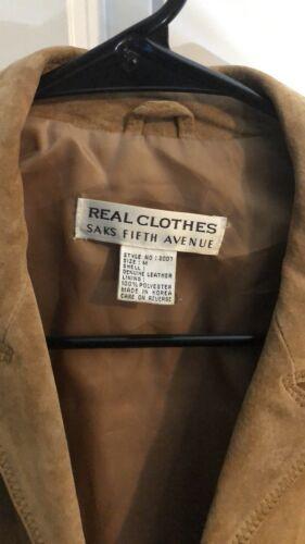 Saks Jakke Medium Læder Fifth Real Brun Clothes Suede Sz Avenue M Collection r7nCarqw