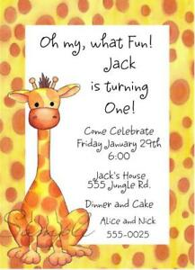 10 cute giraffe baby shower or birthday party invitations 1st 2nd