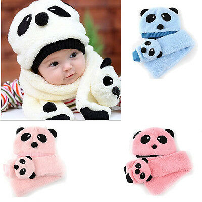 2pcs Panda Toddler Newborn Kid Girl Boy Baby Hat Cap Beanie+Scarf Muffler Set