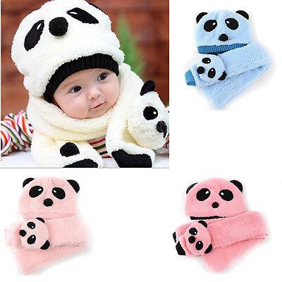 2pcs Panda Toddler Newborn Kid Girl Boy Baby Hat Cap Beanie+Scarf Muffler Set