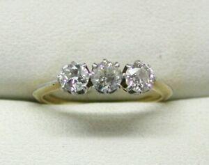 Vintage-Antique-18-carat-Gold-0-75-carat-Three-Stone-Diamond-Ring-size-K