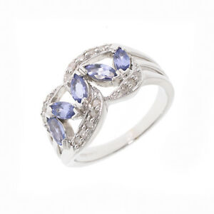 7782b2905c27d Details about Pre-Owned 14ct White Gold Diamond and Tanzanite Ring