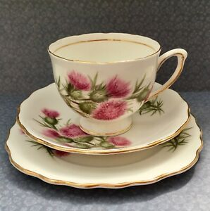 COLCLOUGH-1950s-PINK-THISTLE-TEA-TRIO-SET-CUP-SAUCER-amp-PLATE-GILDED-BONE-CHINA