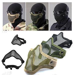 1x-airsoft-en-acier-Mesh-demi-visage-masque-proteger-Strike-paintball-HalloweeBB