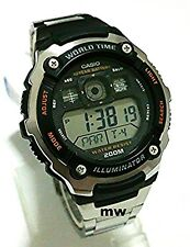 New Casio AE-2000WD-1A World Time Illuminator Digital Mens Watch AE2000 AE2000W