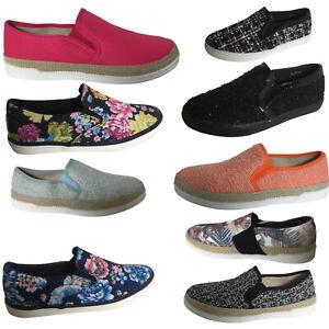 298a58f93327bc Das Bild wird geladen Damen-Sneakers-Turnschuhe-Stoffschuhe-Slipper -Ballerinas-Blumen-Freizeit-
