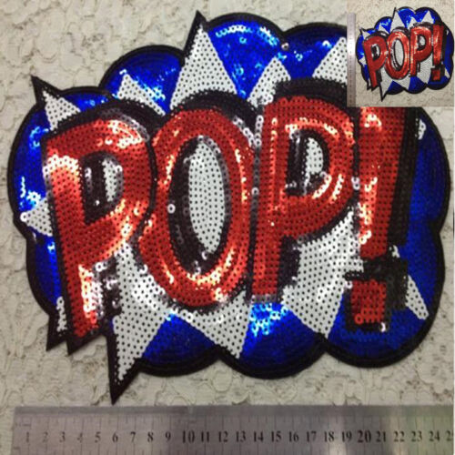 Embroidered iron on patches sequins POP sequins clothing DIY Motif Applique  OZ