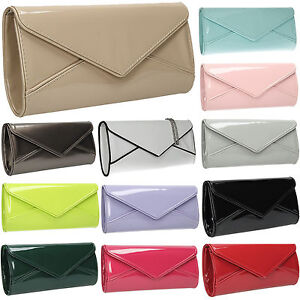 Women-Perr-Envelope-Ladies-Patent-Leather-Clutch-Bag-Party-Prom-Designer-Handbag