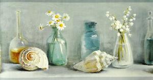 DLR53603B Sea Glass Border Nautical Floral Wallpaper Border