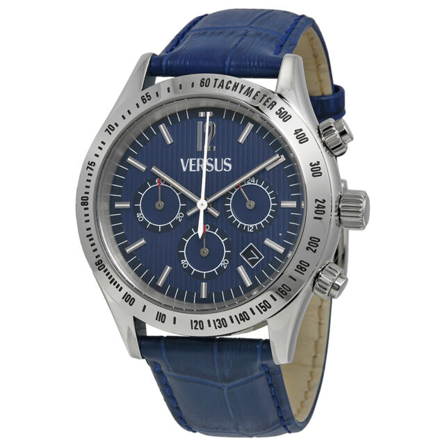 Versus by Versace Cosmopolitan Chronograph Blue Dial Blue Leather Mens Watch