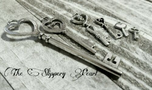 Steampunk Keys Assorted Lot Heart Key Pendants Silver Charms Skeleton Keys 6//12+