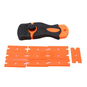 10-Plastic-Steel-Blades-Scraper-Tinting-Tools-Ice-Scraper-Car-Sticker-Cover-HC