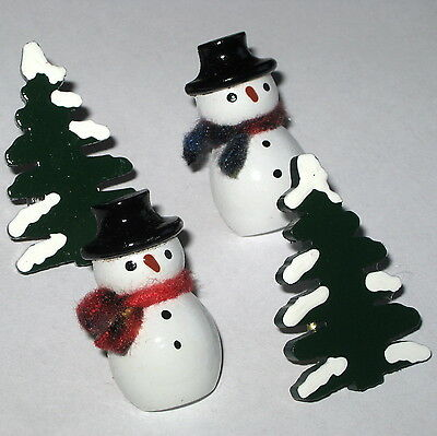 SNOWMAN SNOW PINE TREE PUSH PINS MESSAGE BULLETIN MEMO MEMORY NOTE CORK BOARD