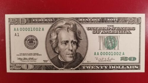 $20 1996 VERY LOW SERIAL NUMBERS 00001002
