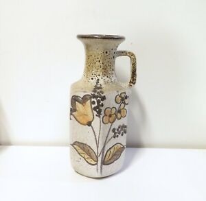 Vintage-West-German-Keramik-Pottery-Mottled-Glaze-amp-Flower-Design