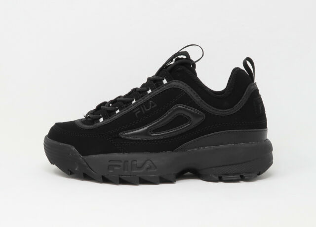 Fila Youths Girls Women Boys Shoes Disruptor II Triple Black Synthetic Nubuck
