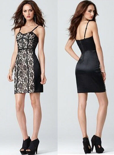 GUESS Sexy Satin Lace Bustier Fitted Stretch schwarz Ivory Dress