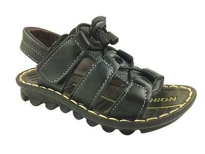 Clothing, Shoes & Accessories Boys' Shoes New Boys Faux Leather Summer Hook And Loop Strappy Sandals Black Size 8.5-12