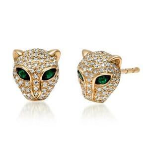 0-50Ct-Round-Cut-Emerald-amp-Diamond-Panther-Stud-Earrings-14K-Yellow-Gold-Over