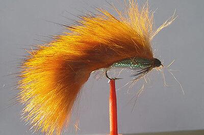 1 x Mouche de Peche Streamer Zonker Orange H8//10//12 alevin white fly tying