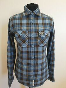 Ee31-Superdry-blau-gelb-kariert-Roll-Sleeve-Slim-Fit-Shirt-UK-S-8-34-034