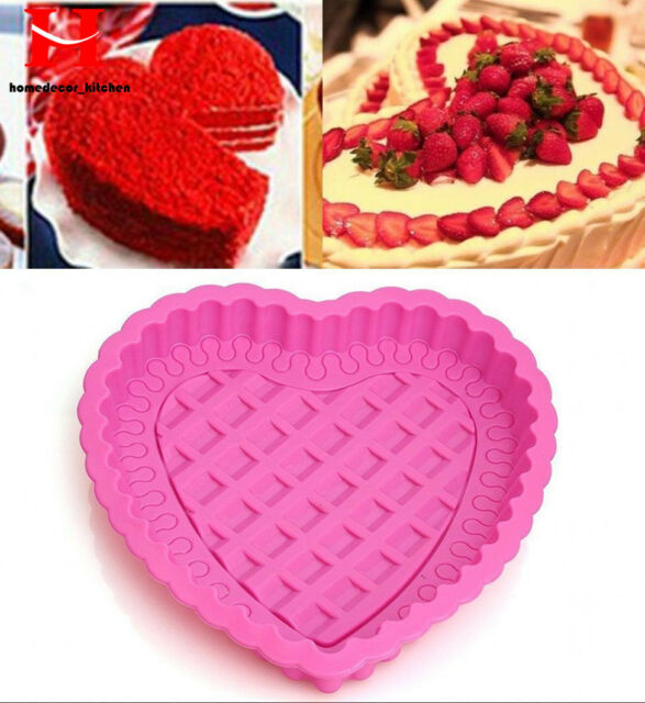 "Heart Shape Layer Silicone Cake Pan Mold Baking 8""Cake Pans Valentines Day Love"