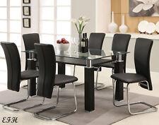 NEW 7PC RIGGAN MODERN GLASS TOP BLACK CHROME METAL DINING TABLE SET