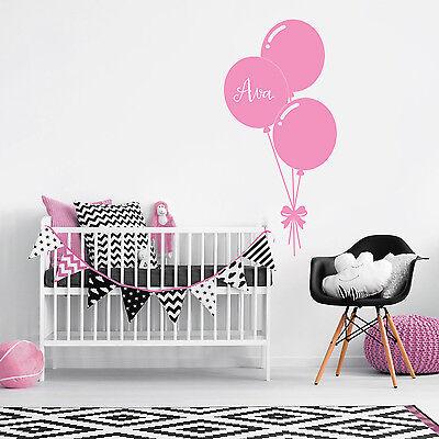 Eerlijk Custom Name Personalise Balloon Baby Girl Bedroom Wall Sticker Nursery Decal Glanzend