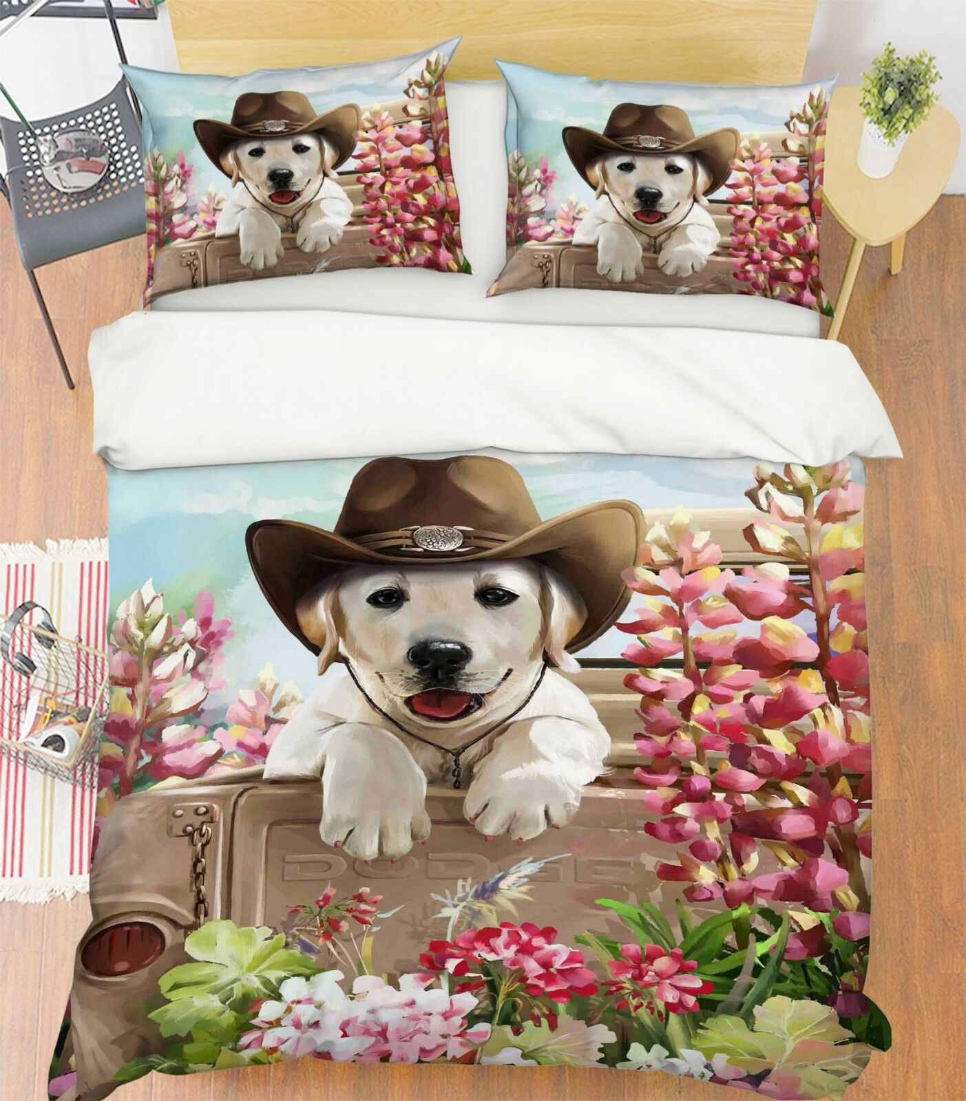 3D Lustiger Hund 21 Bett Kissenbezüge steppen Duvet Decken Set Single Königin DE