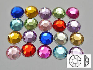 200-Acrylic-Round-Flatback-Rhinestone-Gems-10mm-3-8-034-Pick-Your-Color