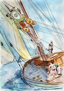 Regatta-original-watercolor-landscape-painting-ocean-sea-marine-yacht-boat-art