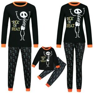 Halloween-Theme-Family-Matching-Pajamas-Set-Adults-Kids-Baby-Sleepwear-Nightwear