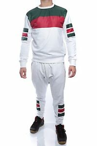 Mens WHITE Jogger Sweat Suit - GREY&RED