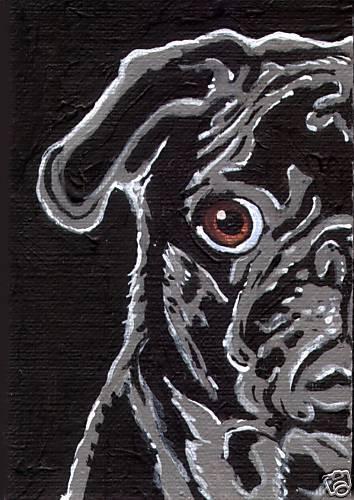 BLACK PUG ACEO Dog Pop Art Mini PRINT of Vern Painting