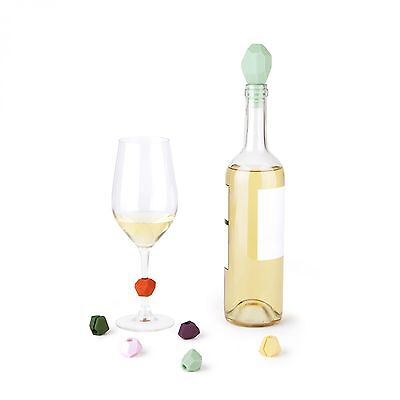 Umbra GEM Wine Bottle Stopper and Wine Glass Charms, 7-Piece Set 480505-022