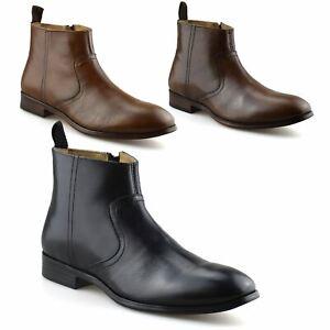 Hombre-Nuevo-Cuero-Cremallera-Formal-Smart-Trabajo-Distribuidor-Chelsea-Botas-al-Tobillo-Zapatos