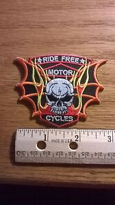 BIKER-PATCH-034-RIDE-FREE-MOTOR-CYCLE-034-WITH-SKULL-NEW-NICE-LADIES-MEN-PATCH