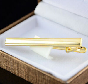 Mens-Metal-Gold-Plated-Tone-Simple-Necktie-Tie-Pin-Bar-Clasp-Clip-A-ov