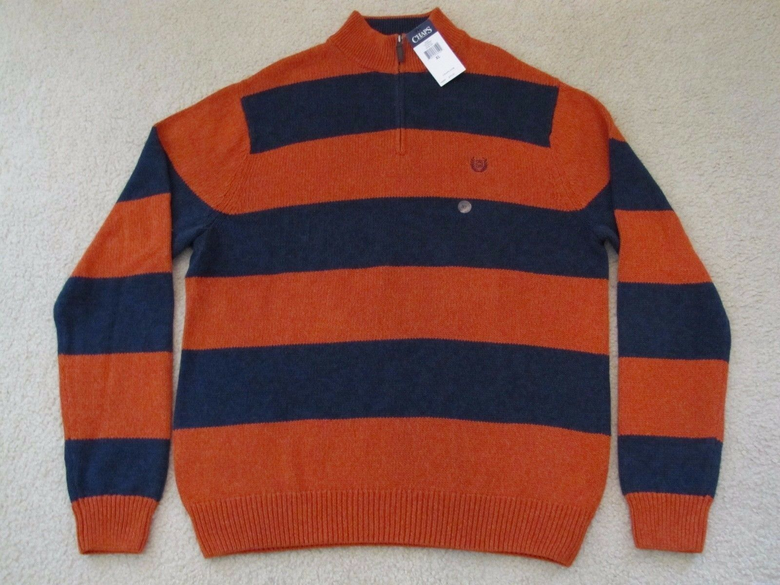 CHAPS COTTON 1 3 ZIP BULKY KNIT SWEATER - EXTRA LARGE - NEWwTAGS