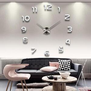 Wohnzimmer design wand  3D Design Wand Uhr Wohnzimmer Spiegel Wanduhr Groß Silber Moderne ...