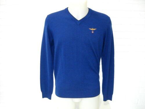 Aeronautica Militare Bluette Sweater Neck V Ma1069 Logo Piccolo Lana Maglia rrCxdq