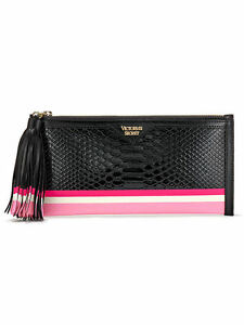 36e3e4de3db9a NWT VICTORIA'S SECRET Black/Pink Tassel Luxe Python Clutch   eBay