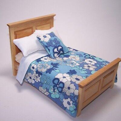 Escala 1:12 Hecho a Mano Único Azul Floral Cojines tumdee Casa De Muñecas En Miniatura